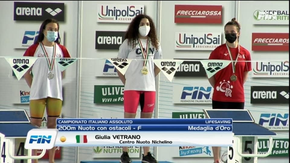RECORD DEL MONDO:  Giulia Vetrano, atleta CNN,  ha realizzato il nuovo record del mondo Youth, record italiano e europeo assoluto nei 200 metri nuoto con ostacoli con il tempo di: 2.04.32